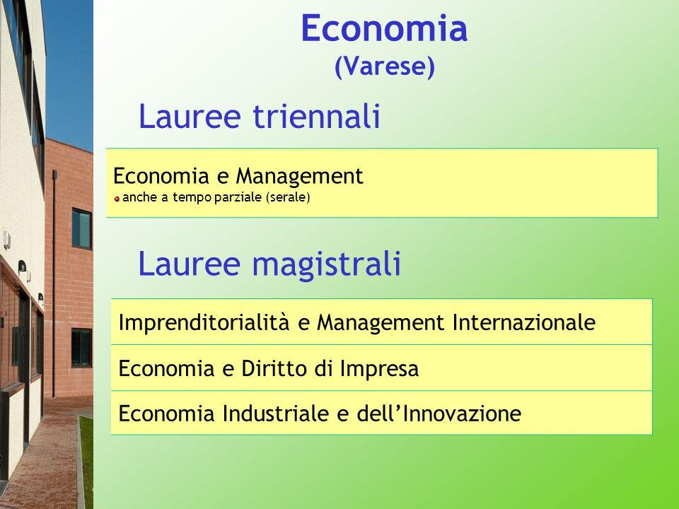 Economia (Varese) Lauree triennali Lauree magistrali