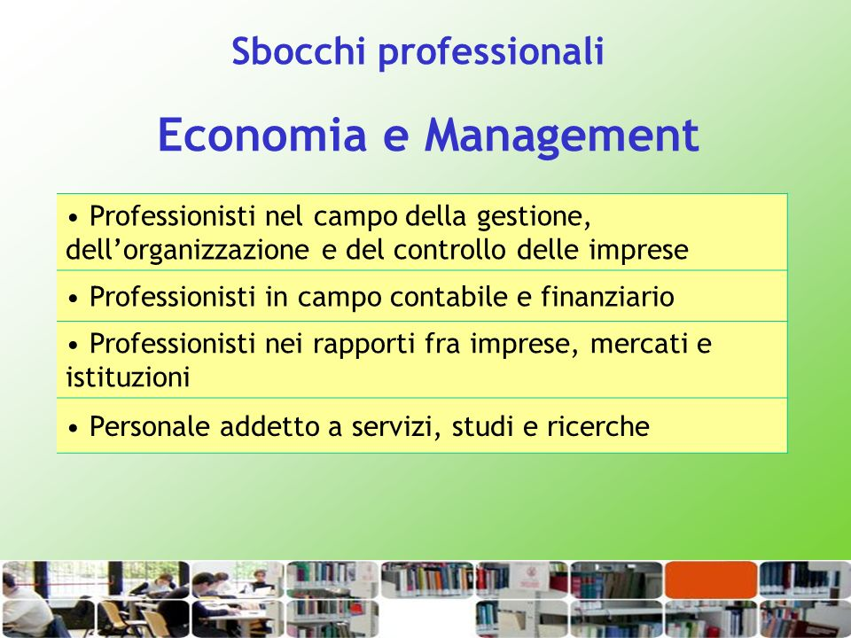 Economia e Management Sbocchi professionali