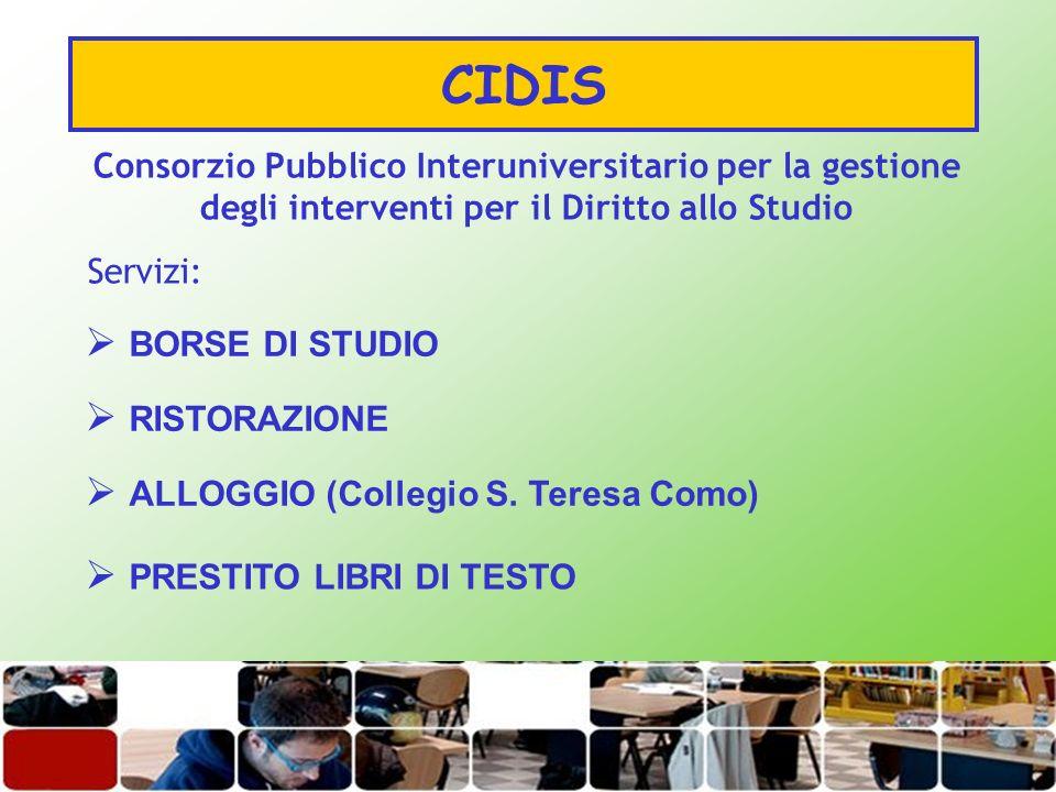 CIDIS BORSE DI STUDIO RISTORAZIONE ALLOGGIO (Collegio S. Teresa Como)