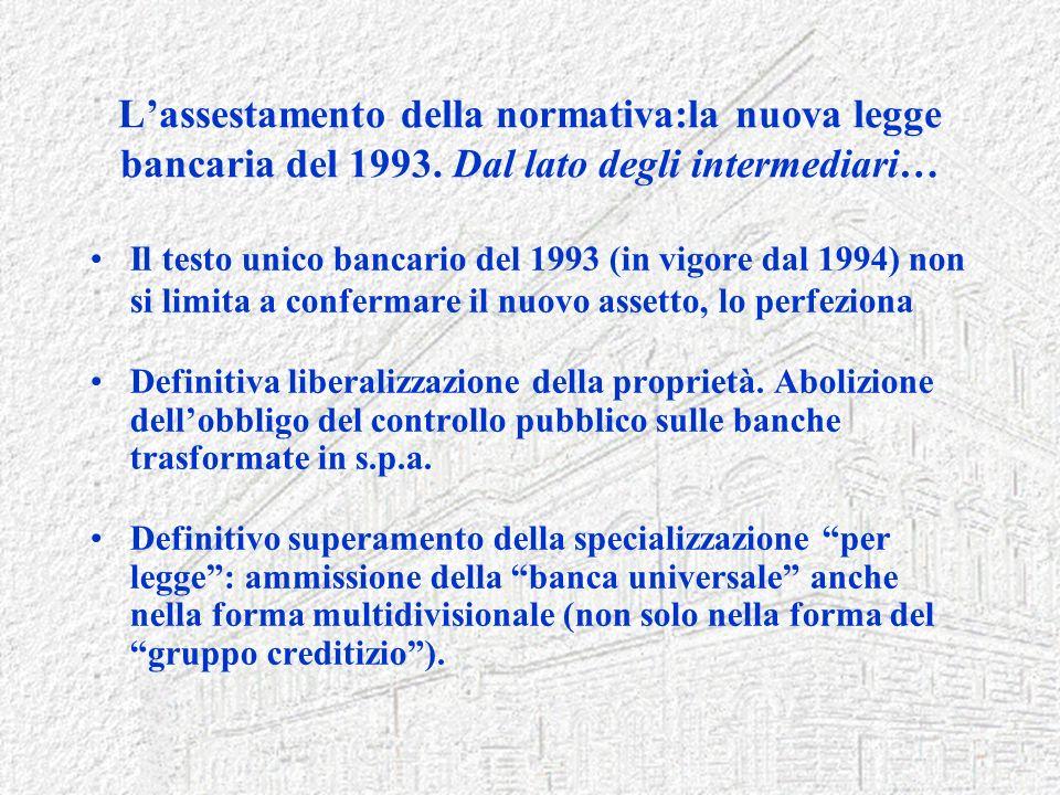 L'assestamento della normativa:la nuova legge bancaria del 1993