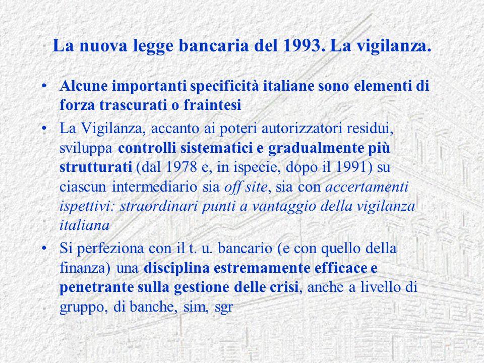 La nuova legge bancaria del 1993. La vigilanza.