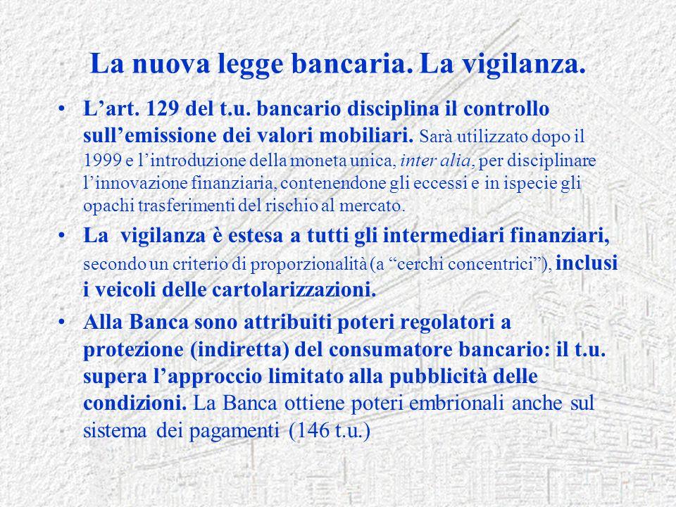 La nuova legge bancaria. La vigilanza.