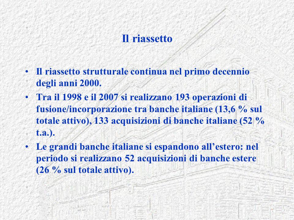 Il riassetto Il riassetto strutturale continua nel primo decennio degli anni 2000.