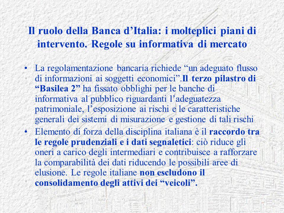 Il ruolo della Banca d'Italia: i molteplici piani di intervento
