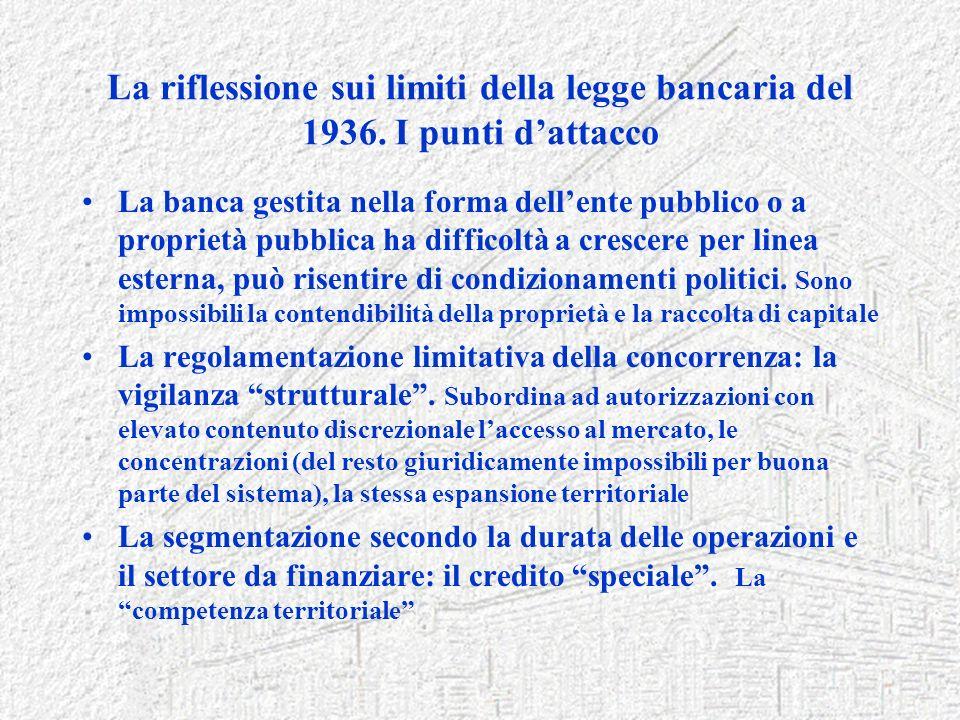 La riflessione sui limiti della legge bancaria del 1936