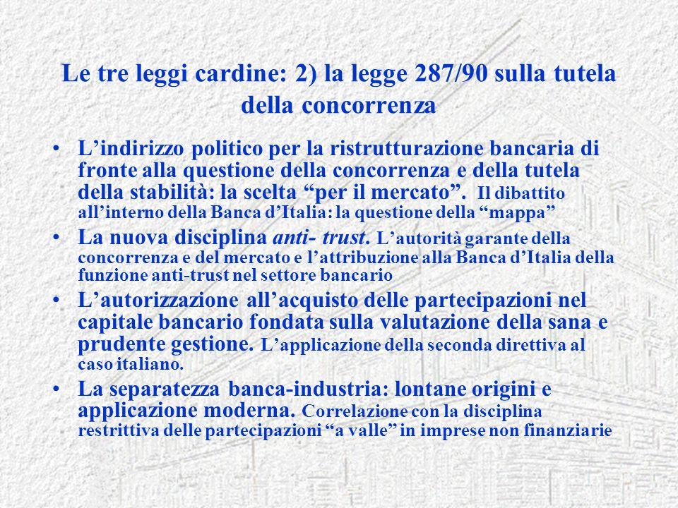 Le tre leggi cardine: 2) la legge 287/90 sulla tutela della concorrenza