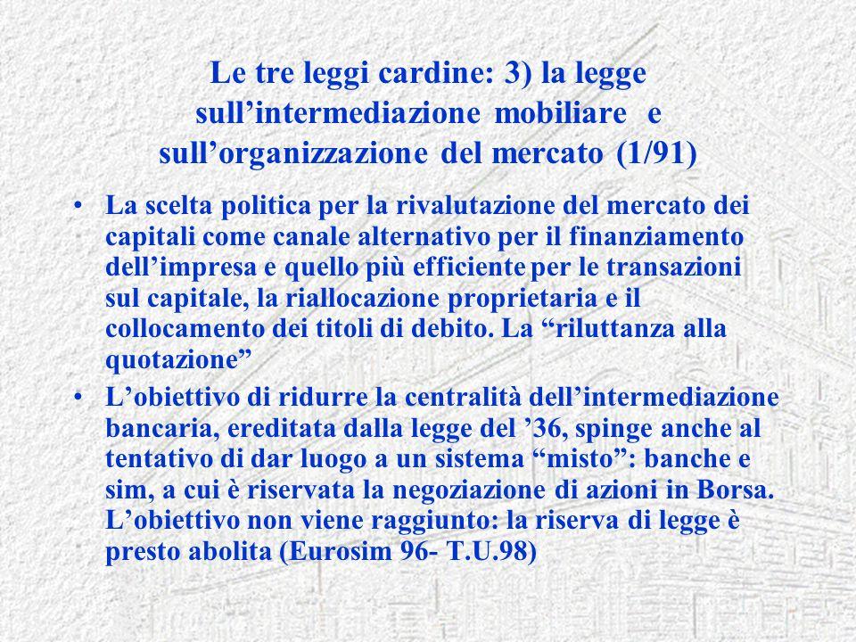 Le tre leggi cardine: 3) la legge sull'intermediazione mobiliare e sull'organizzazione del mercato (1/91)