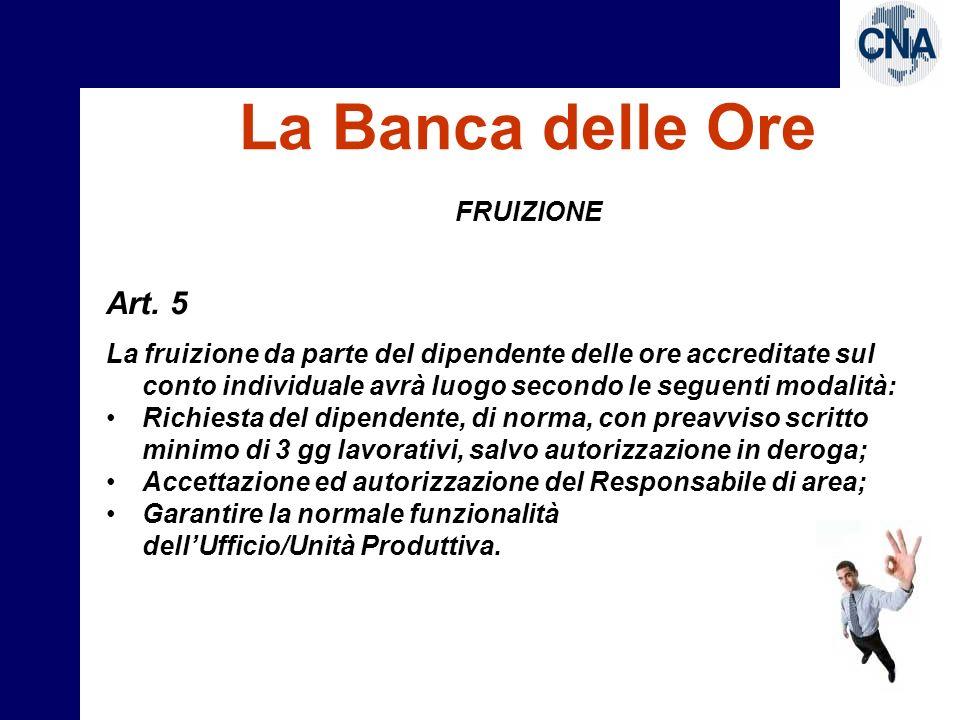 La Banca delle Ore Art. 5 FRUIZIONE