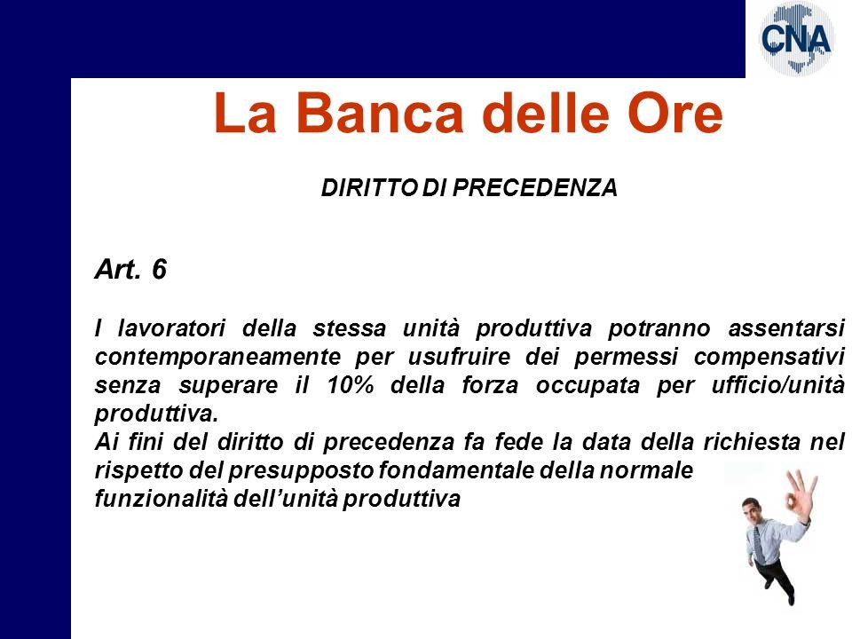 La Banca delle Ore Art. 6 DIRITTO DI PRECEDENZA