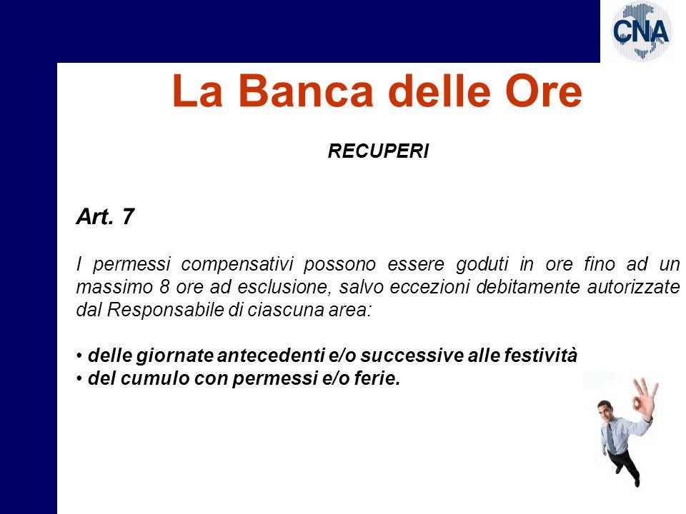 La Banca delle Ore Art. 7 RECUPERI