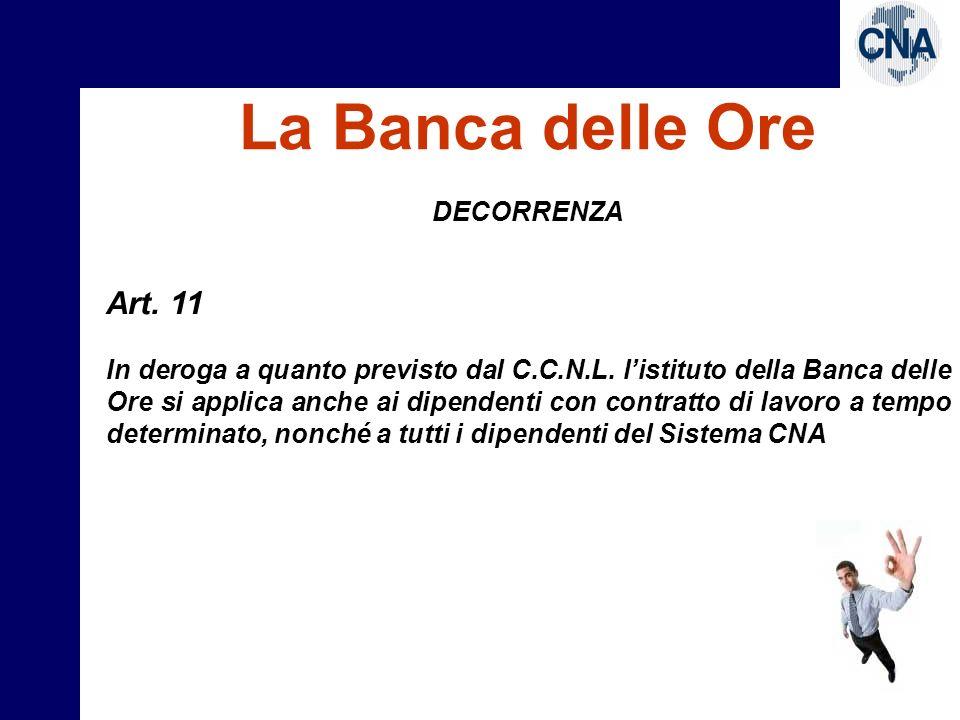 La Banca delle Ore Art. 11 DECORRENZA