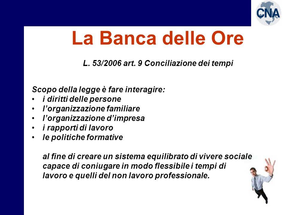 L. 53/2006 art. 9 Conciliazione dei tempi