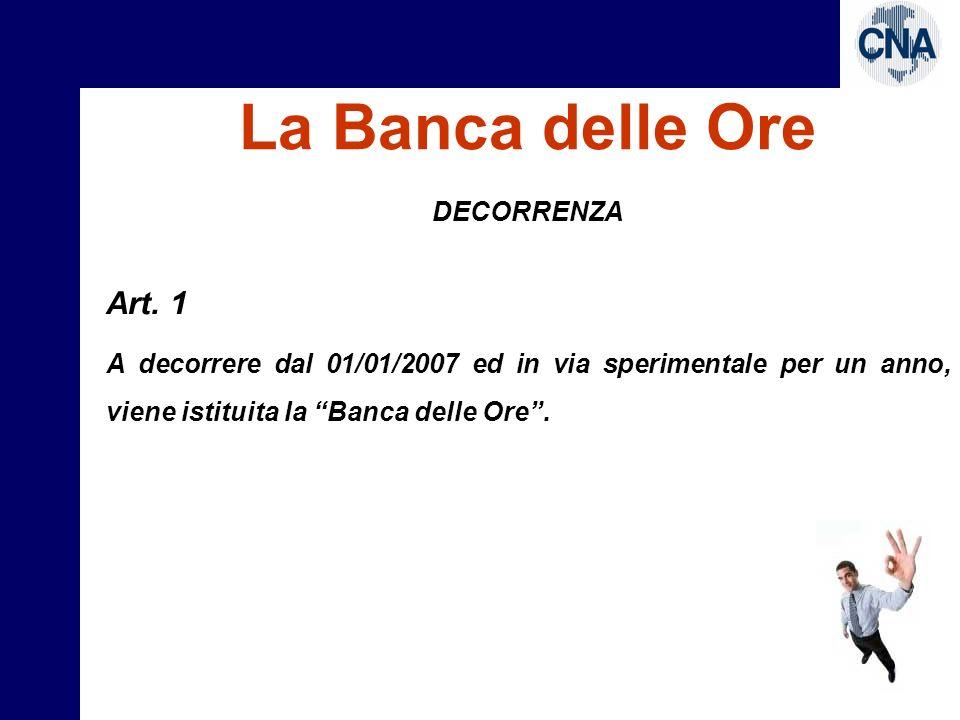 La Banca delle Ore Art. 1 DECORRENZA