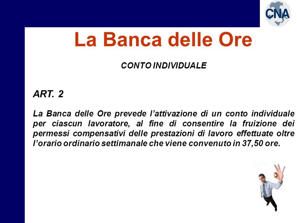 La Banca delle Ore ART. 2 CONTO INDIVIDUALE