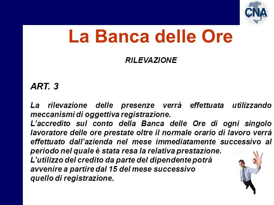 La Banca delle Ore ART. 3 RILEVAZIONE