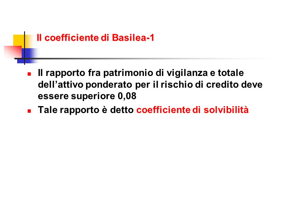 Il coefficiente di Basilea-1