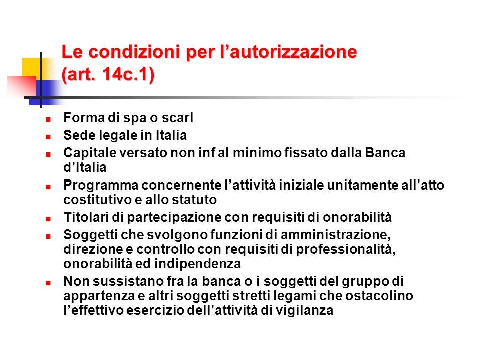 Le condizioni per l'autorizzazione (art. 14c.1)
