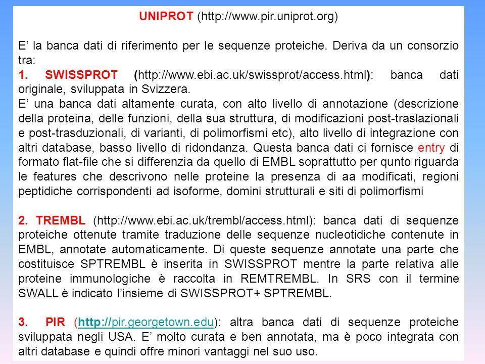UNIPROT (http://www.pir.uniprot.org)