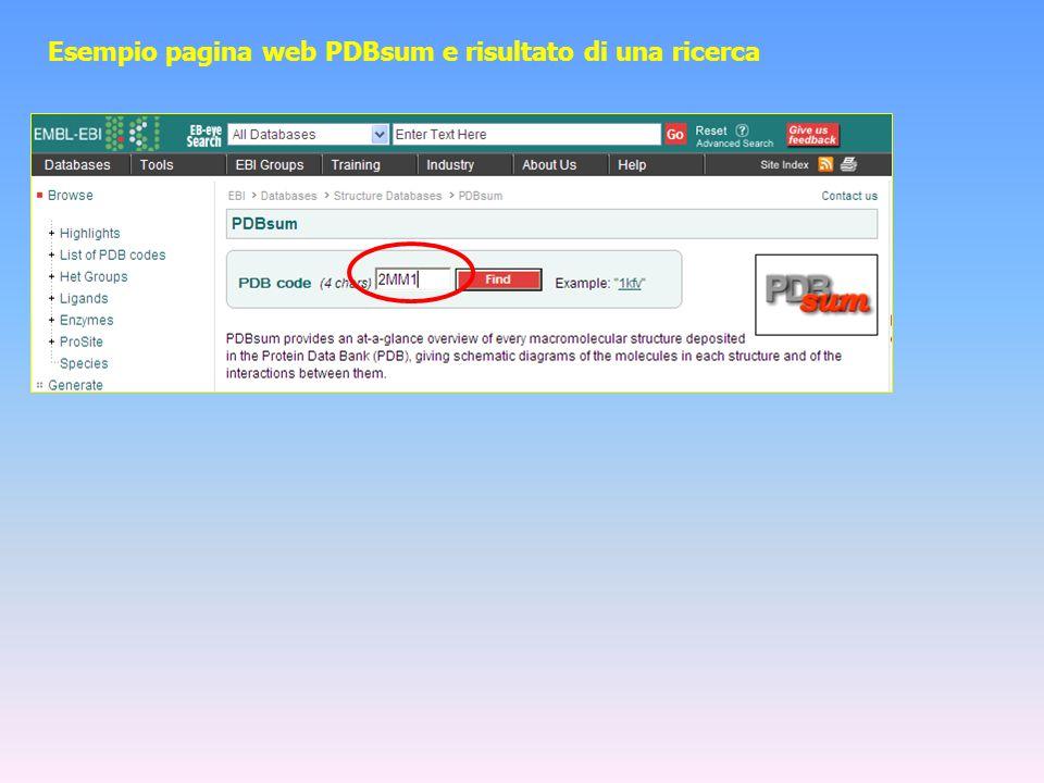 Esempio pagina web PDBsum e risultato di una ricerca