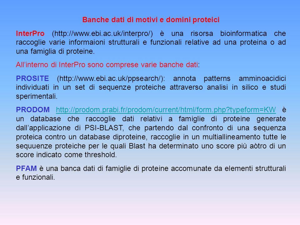 Banche dati di motivi e domini proteici