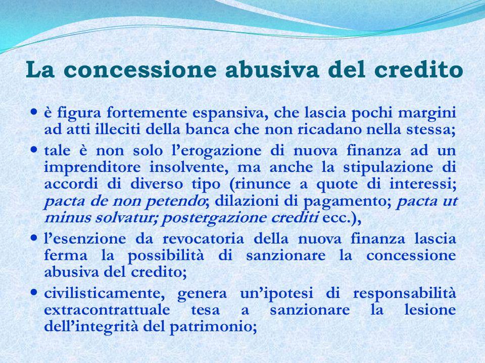 La concessione abusiva del credito