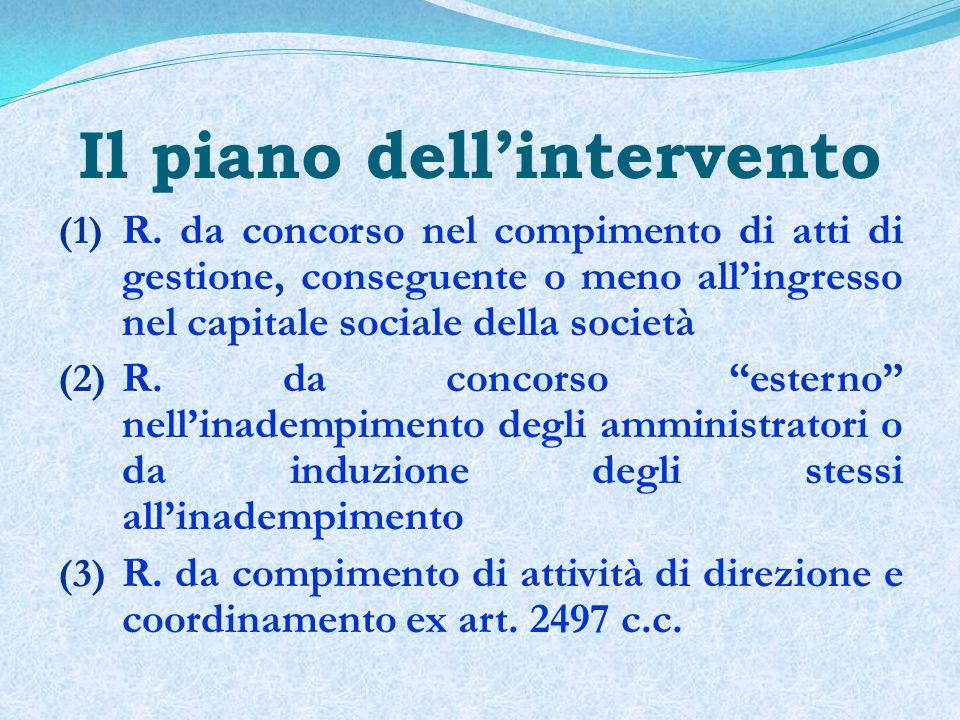 Il piano dell'intervento