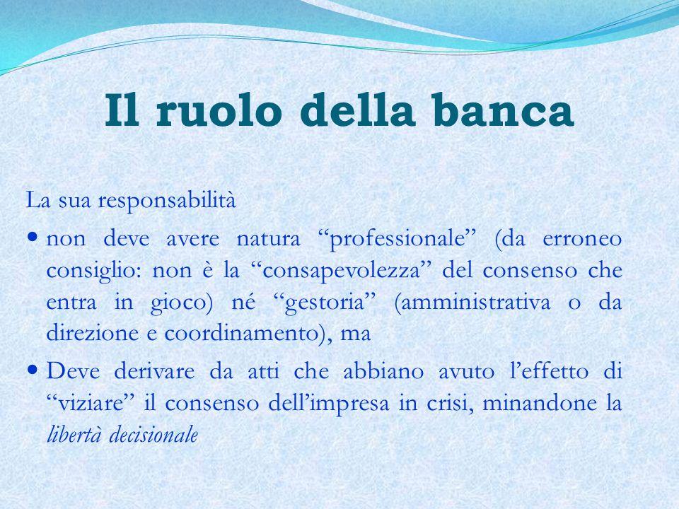 Il ruolo della banca La sua responsabilità