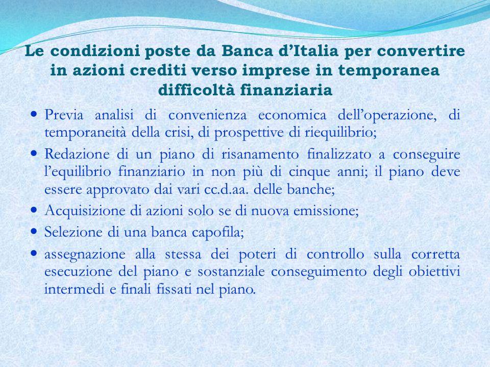 Le condizioni poste da Banca d'Italia per convertire in azioni crediti verso imprese in temporanea difficoltà finanziaria