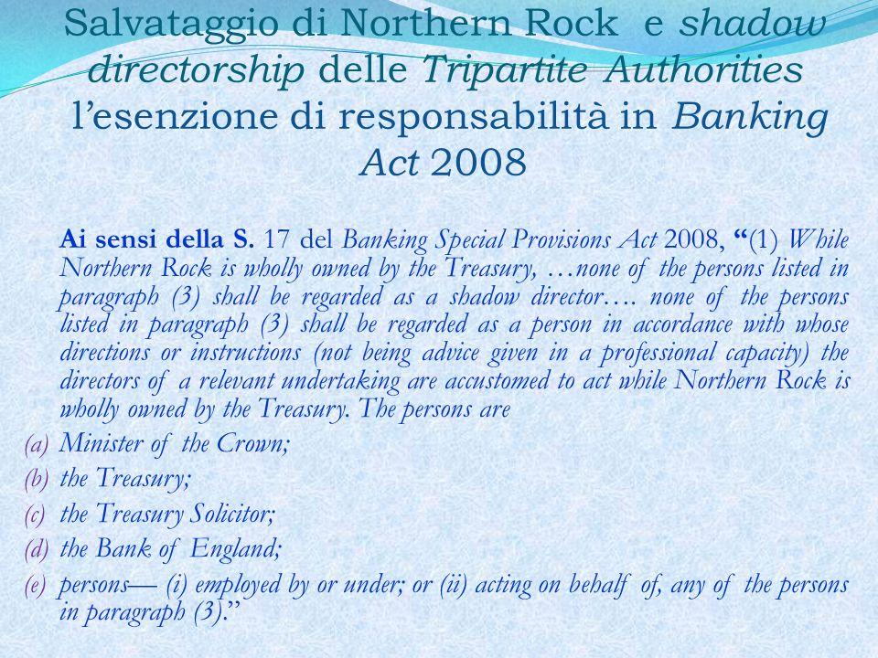 Salvataggio di Northern Rock e shadow directorship delle Tripartite Authorities l'esenzione di responsabilità in Banking Act 2008