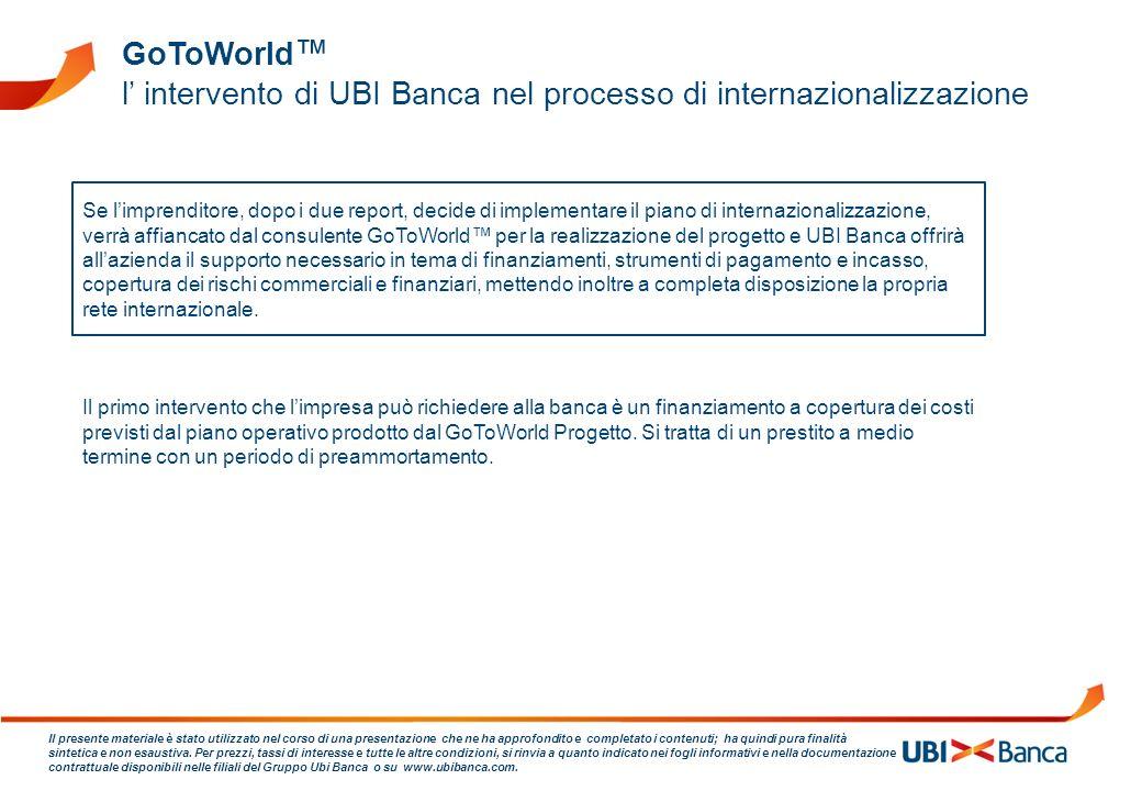 l' intervento di UBI Banca nel processo di internazionalizzazione