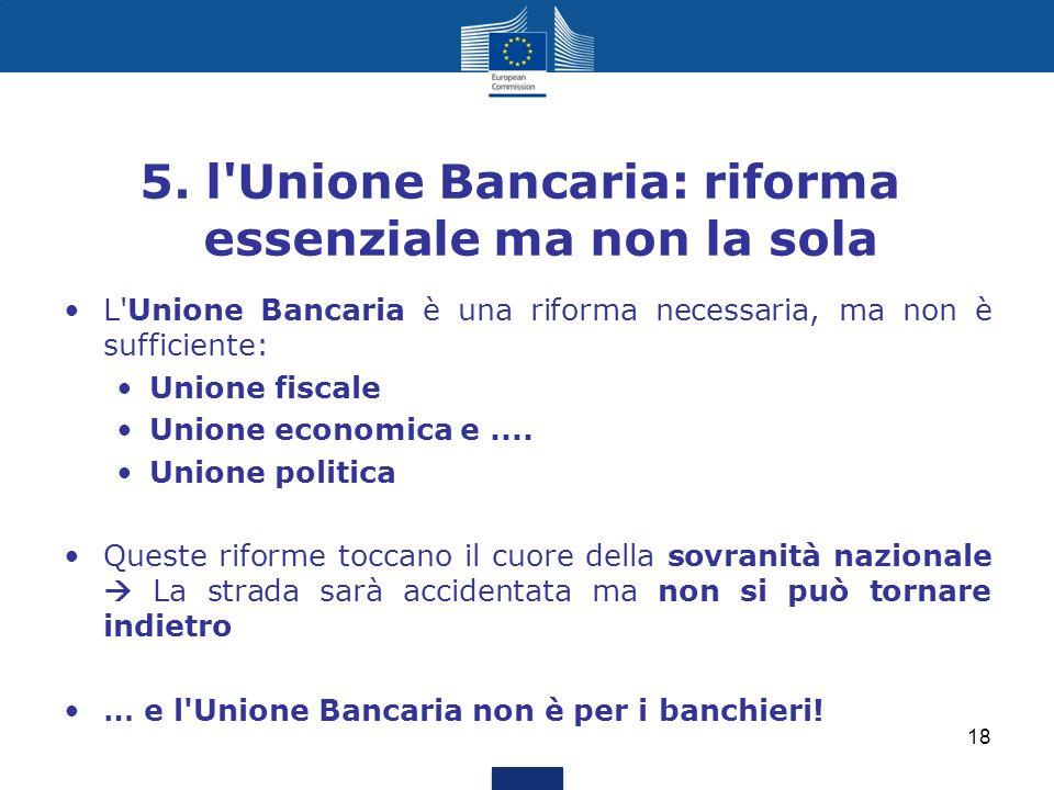 5. l Unione Bancaria: riforma essenziale ma non la sola