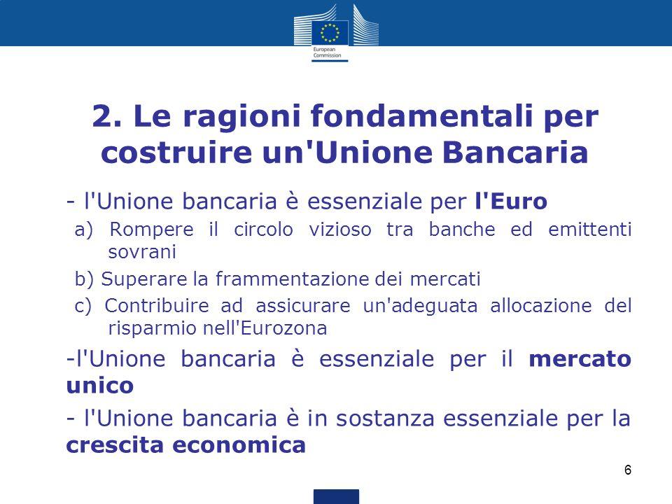 2. Le ragioni fondamentali per costruire un Unione Bancaria