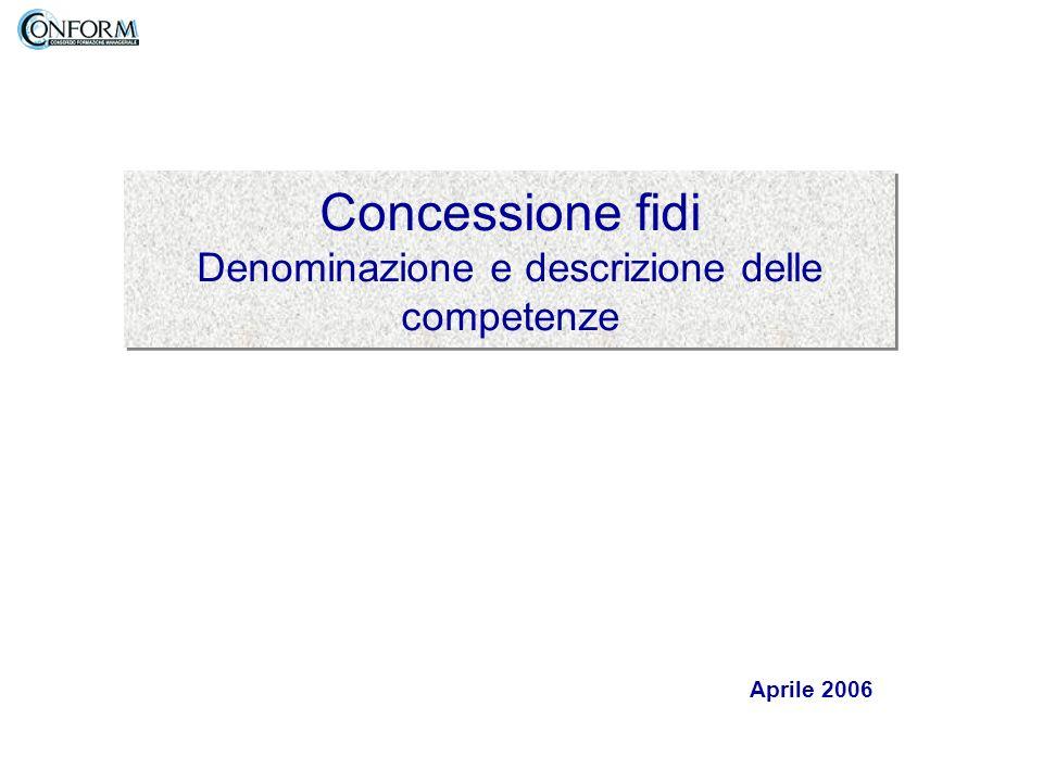 Concessione fidi Denominazione e descrizione delle competenze