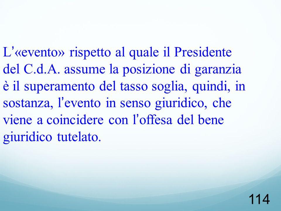 L'«evento» rispetto al quale il Presidente del C. d. A