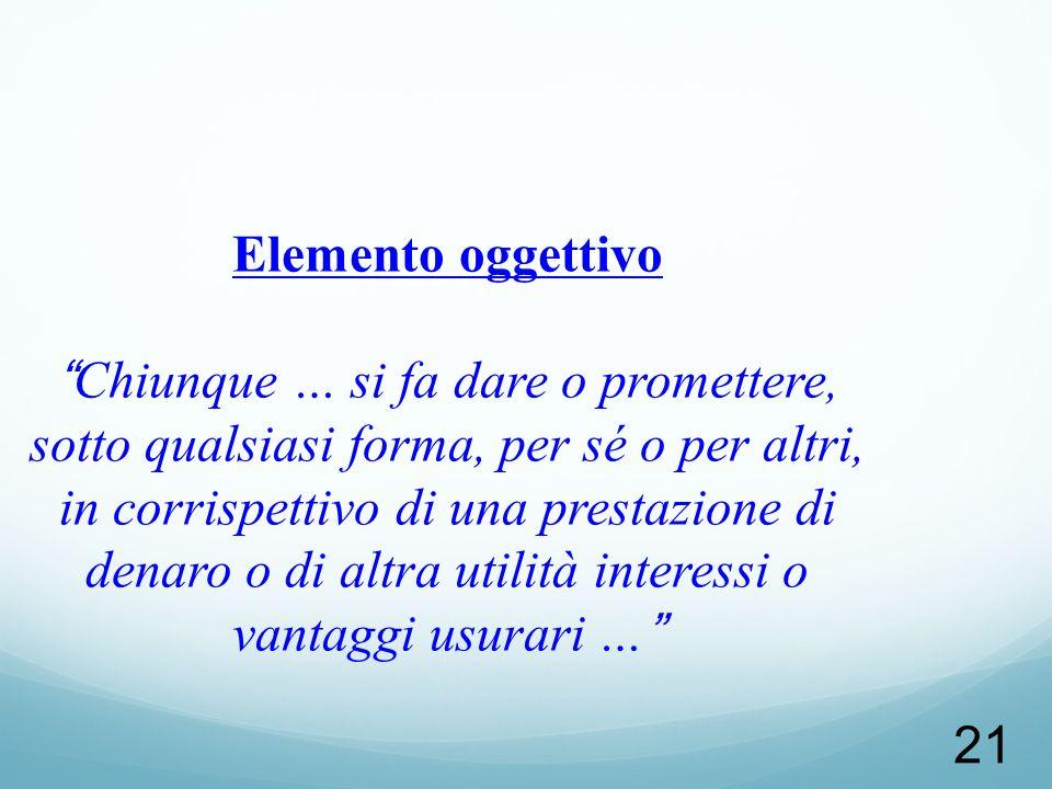 Elemento oggettivo Chiunque … si fa dare o promettere, sotto qualsiasi forma, per sé o per altri, in corrispettivo di una prestazione di denaro o di altra utilità interessi o vantaggi usurari …