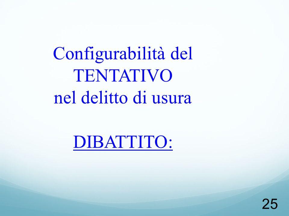 Configurabilità del TENTATIVO nel delitto di usura DIBATTITO: