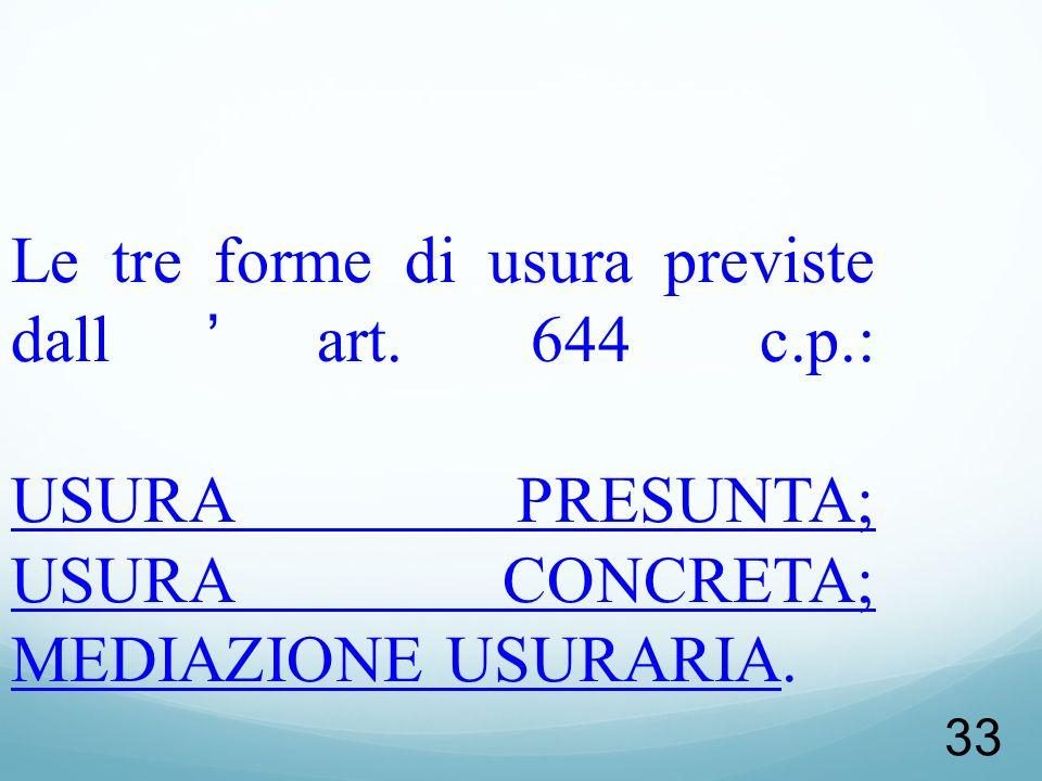 Le tre forme di usura previste dall'art. 644 c. p