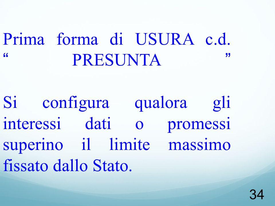 Prima forma di USURA c.d.