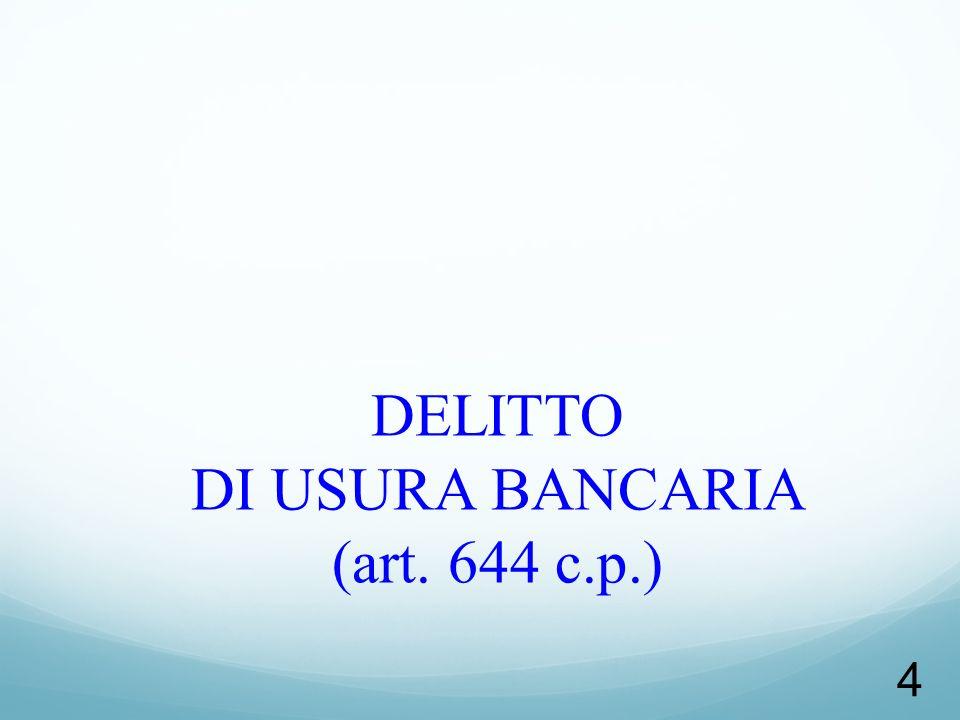 DELITTO DI USURA BANCARIA (art. 644 c.p.)