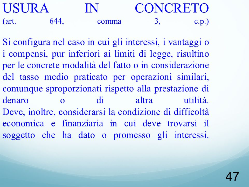 USURA IN CONCRETO (art. 644, comma 3, c. p