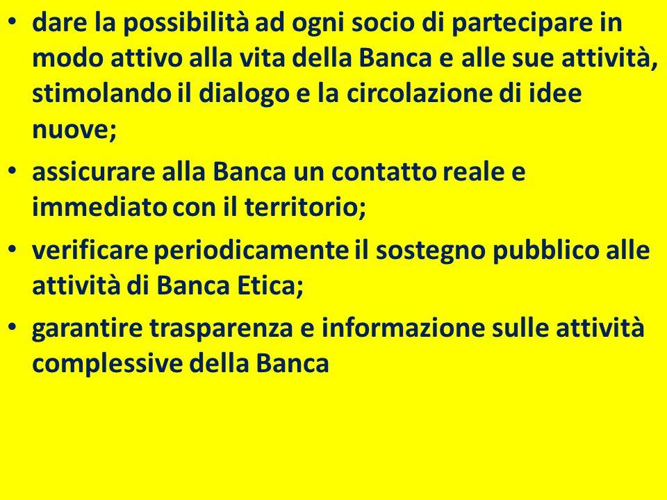 dare la possibilità ad ogni socio di partecipare in modo attivo alla vita della Banca e alle sue attività, stimolando il dialogo e la circolazione di idee nuove;