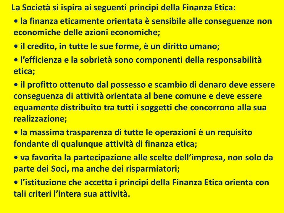 La Società si ispira ai seguenti principi della Finanza Etica: