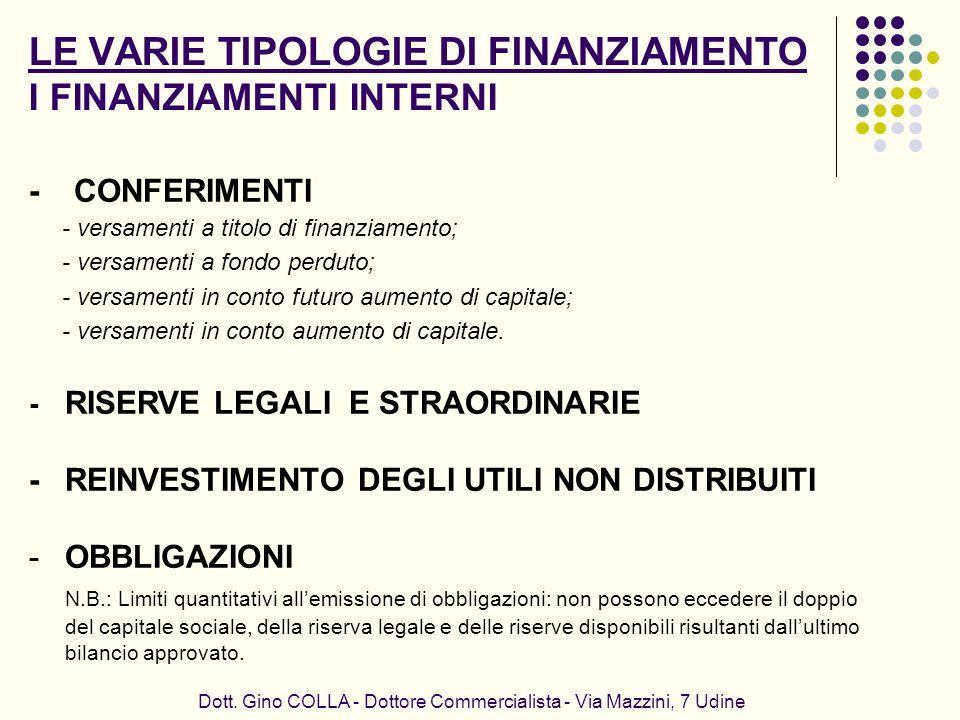 LE VARIE TIPOLOGIE DI FINANZIAMENTO I FINANZIAMENTI INTERNI