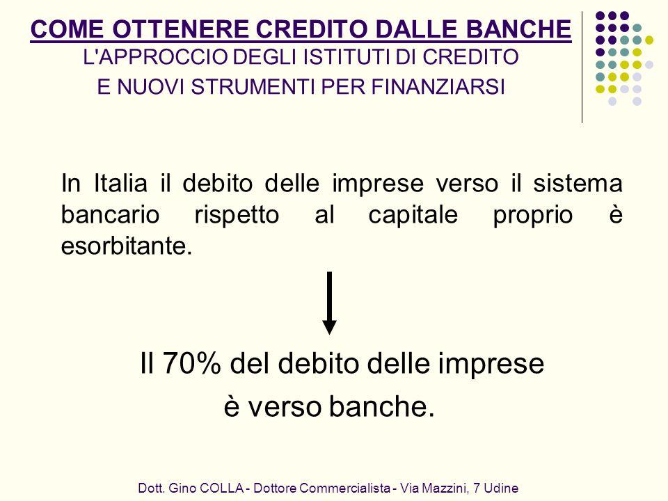 è verso banche. Il 70% del debito delle imprese