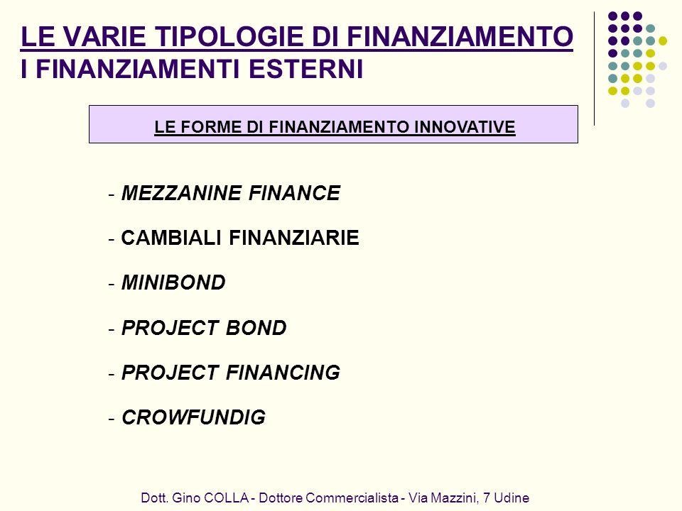 LE VARIE TIPOLOGIE DI FINANZIAMENTO I FINANZIAMENTI ESTERNI