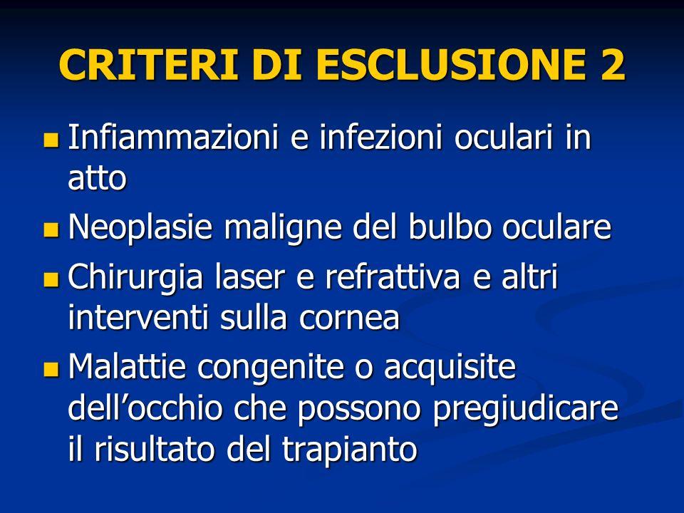 CRITERI DI ESCLUSIONE 2 Infiammazioni e infezioni oculari in atto
