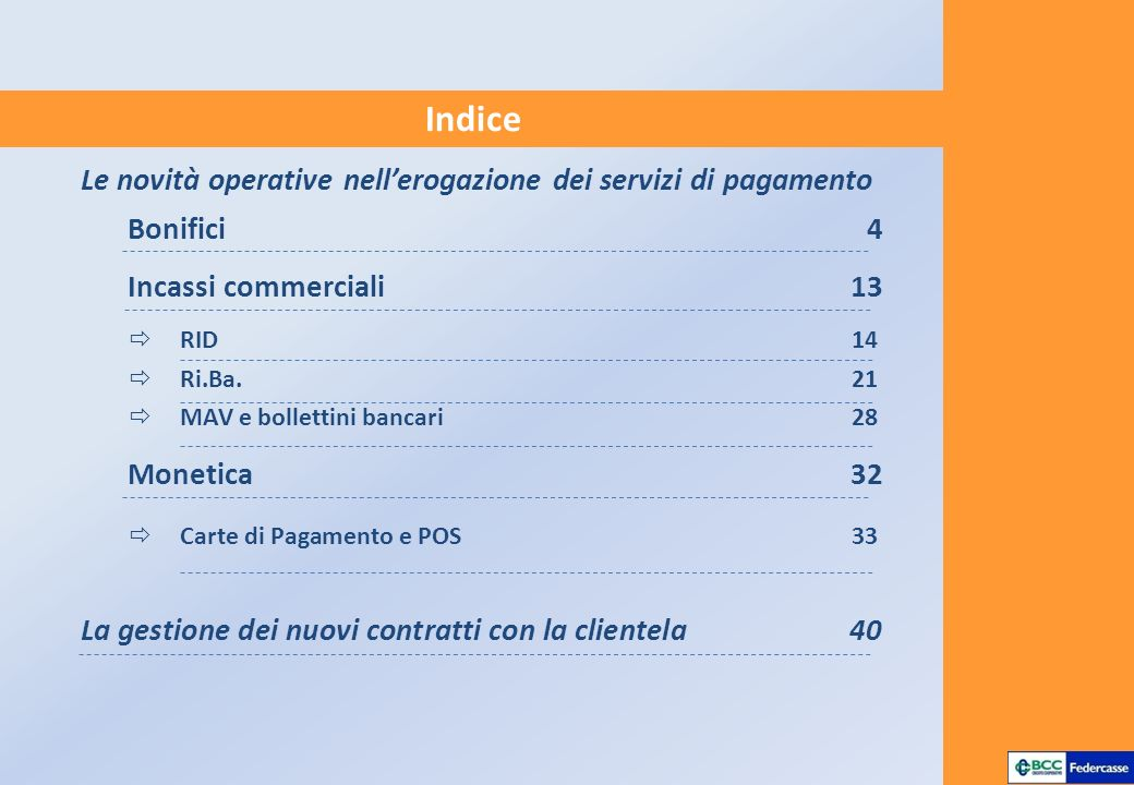 Indice Le novità operative nell'erogazione dei servizi di pagamento