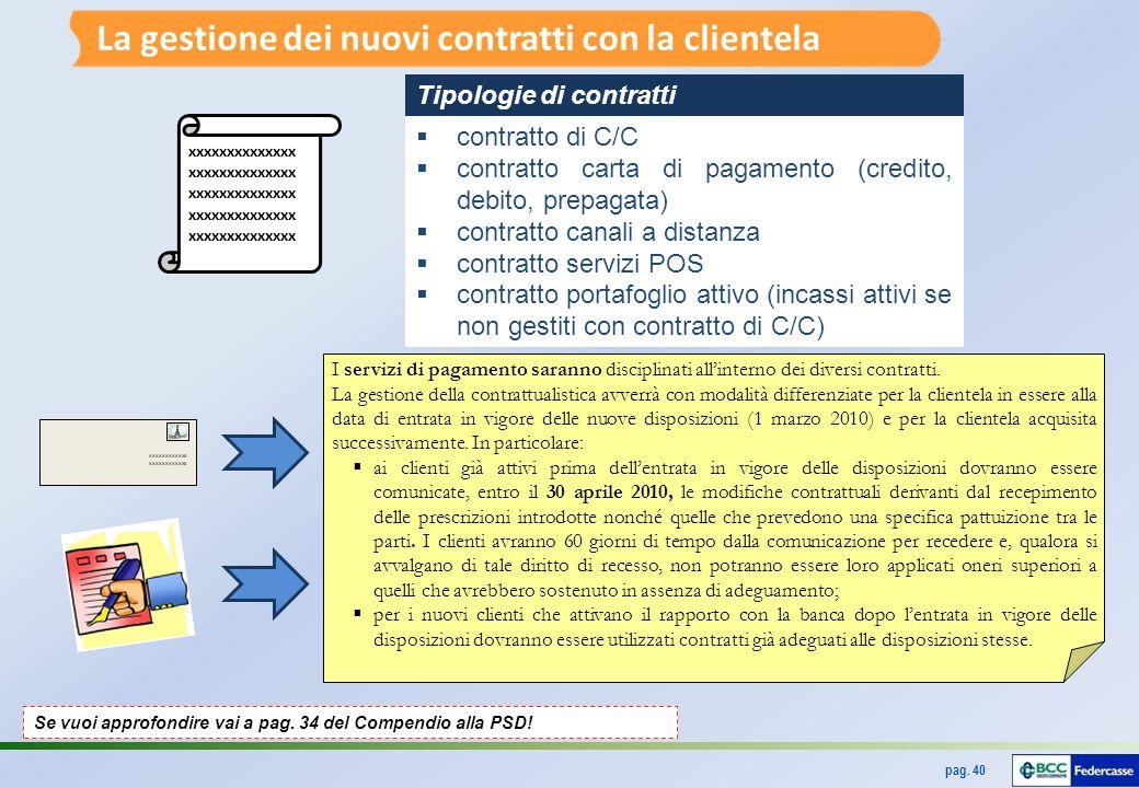 La gestione dei nuovi contratti con la clientela