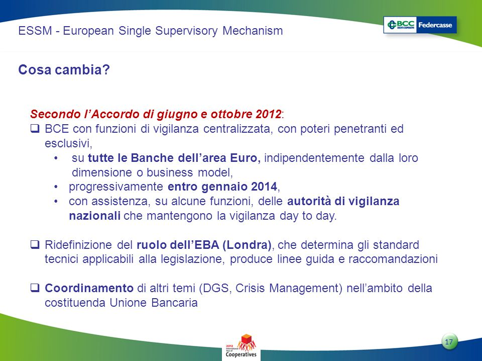 Cosa cambia ESSM - European Single Supervisory Mechanism