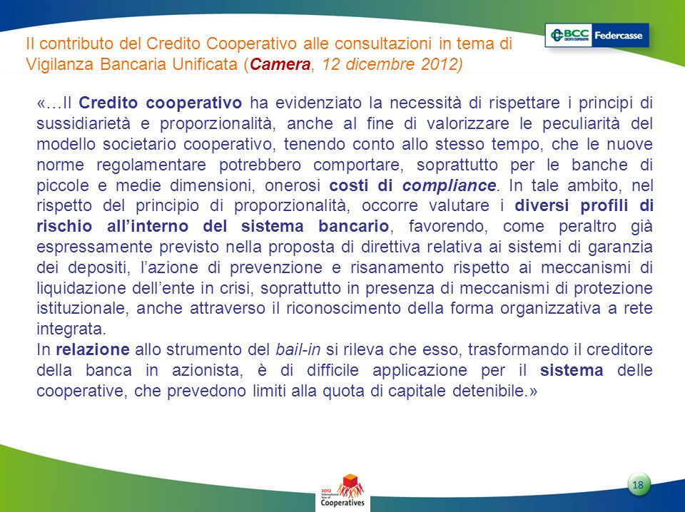 Il contributo del Credito Cooperativo alle consultazioni in tema di Vigilanza Bancaria Unificata (Camera, 12 dicembre 2012)
